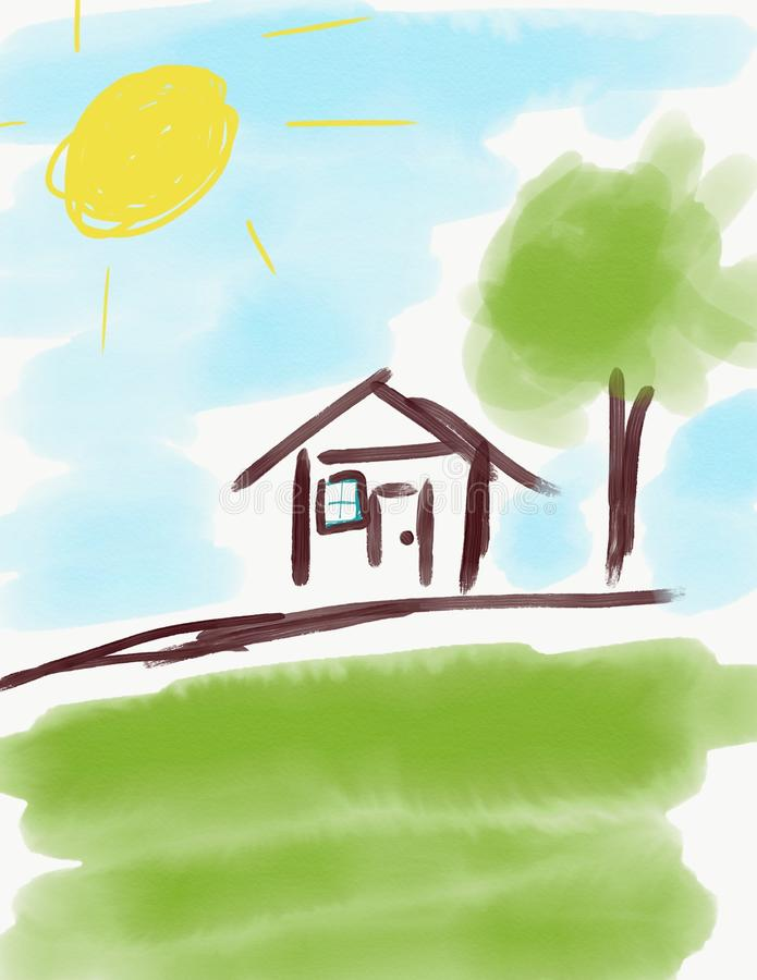 House drawing done by kids stock illustration