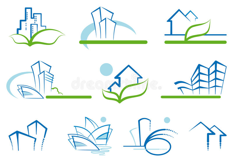 House drawings. Abstract architecture icon set. Vector illustrations