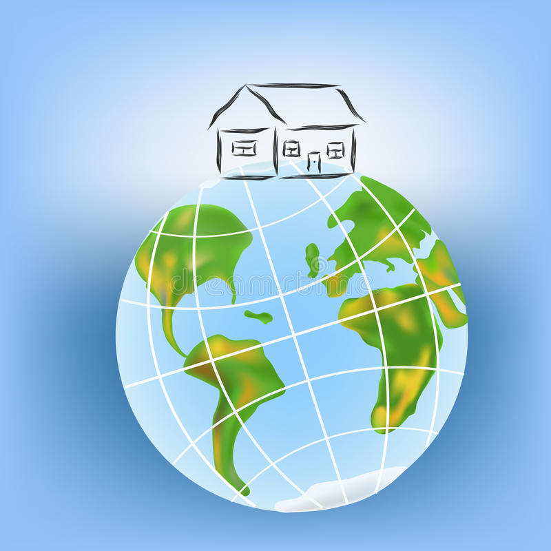House on the earth. stock illustration