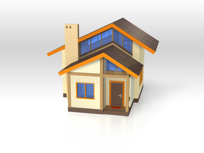 Download House With Ecological Architecture - Front View Stock Illustration - Image: 9065098