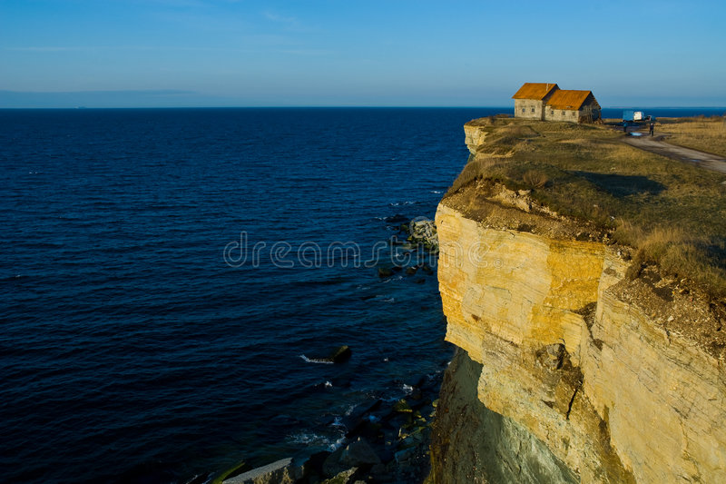 House on the Edge of a Cliff stock image