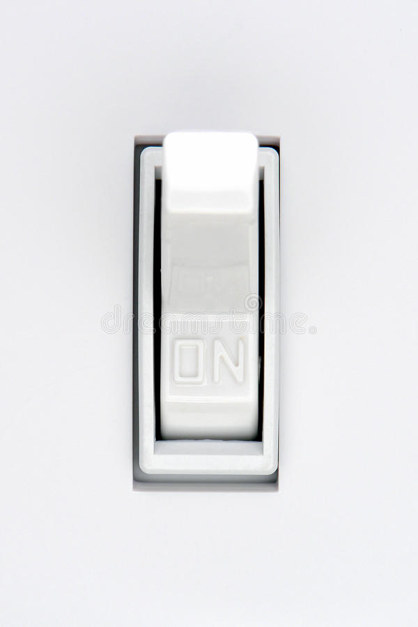 House Electric Light Switch in ON Position stock photography