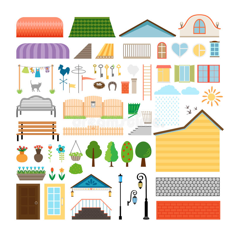 House elements. Windows and doors, benches street. House elements. Windows and doors, benches and street lights. Architecture building, lantern and facade royalty free illustration