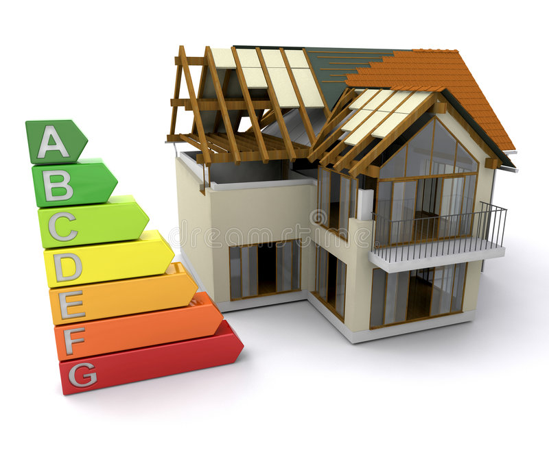 House with energy ratings vector illustration