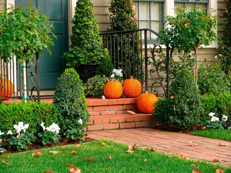 House entrance Hallowene deco stock images