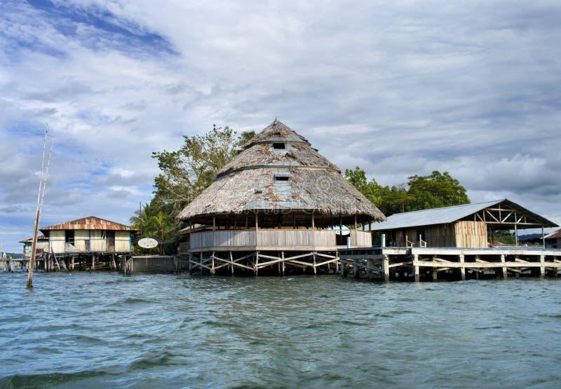 The house established on piles. Lake Sentani, Indonesia stock image