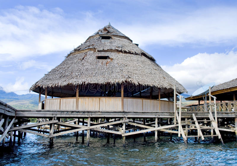The house established on piles. Lake Sentani. Indonesia royalty free stock image