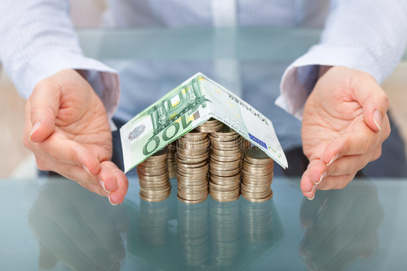 Download House With Euro Coins And Banknote Stock Photo - Image: 40196795