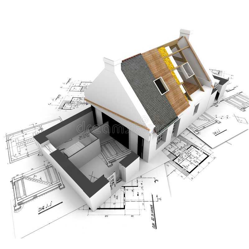 House with exposed roof layers and plans royalty free illustration