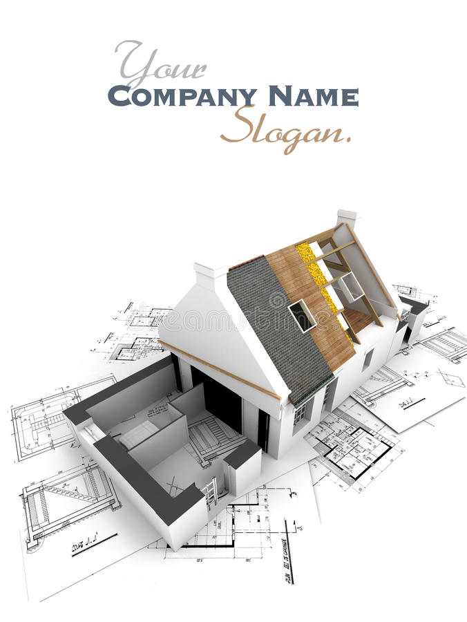 House with exposed roof layers and plans vector illustration