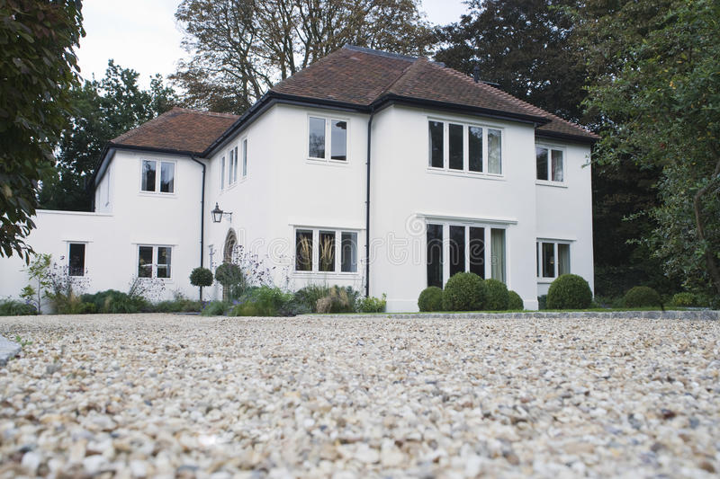 House Exterior With Driveway stock photo