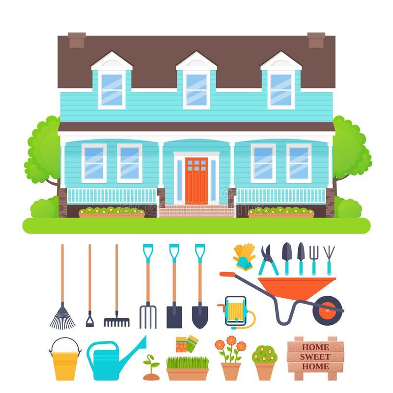 Free House Exterior, Garden Tools Set. Vector Illustration. Stock Image - 130743641