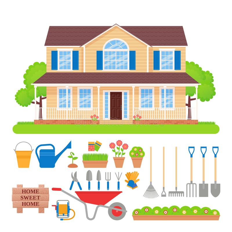 House exterior, garden tools set. Vector illustration. House exterior, garden tools. Vector. Gardening set. Residential cottage with lawn, tree, grass. Front vector illustration