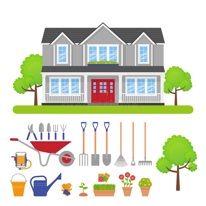 House exterior, garden tools set. Vector illustration. House exterior, garden tools set. Vector. Modern residential cottage with lawn, trees. Home gardening stock illustration