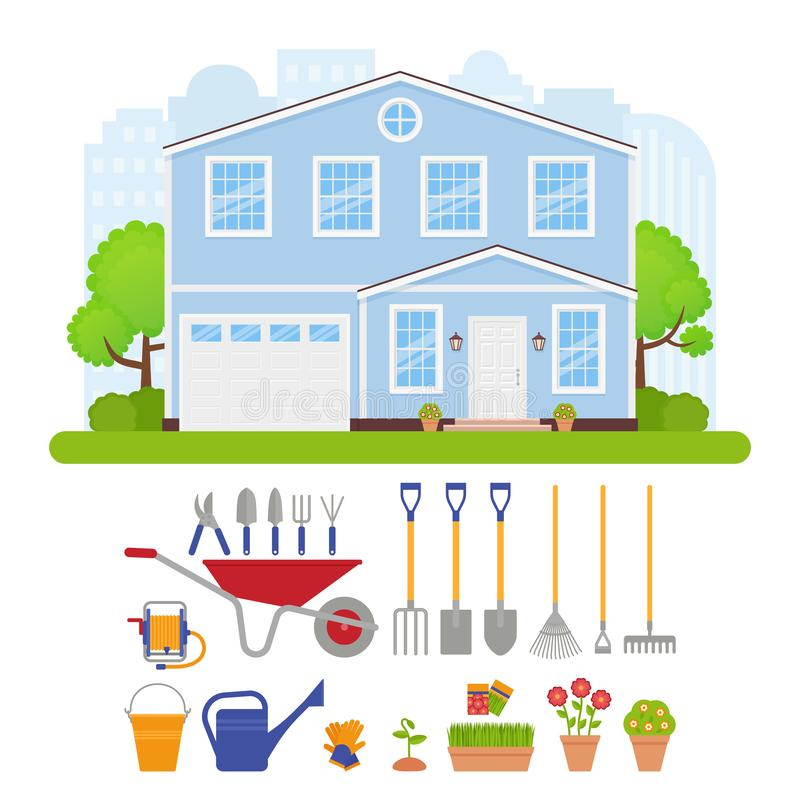 House exterior, garden tools set. Vector illustration. Garden tools set, house exterior. Vector. Residential cottage with lawn, tree, bush. Home gardening royalty free illustration