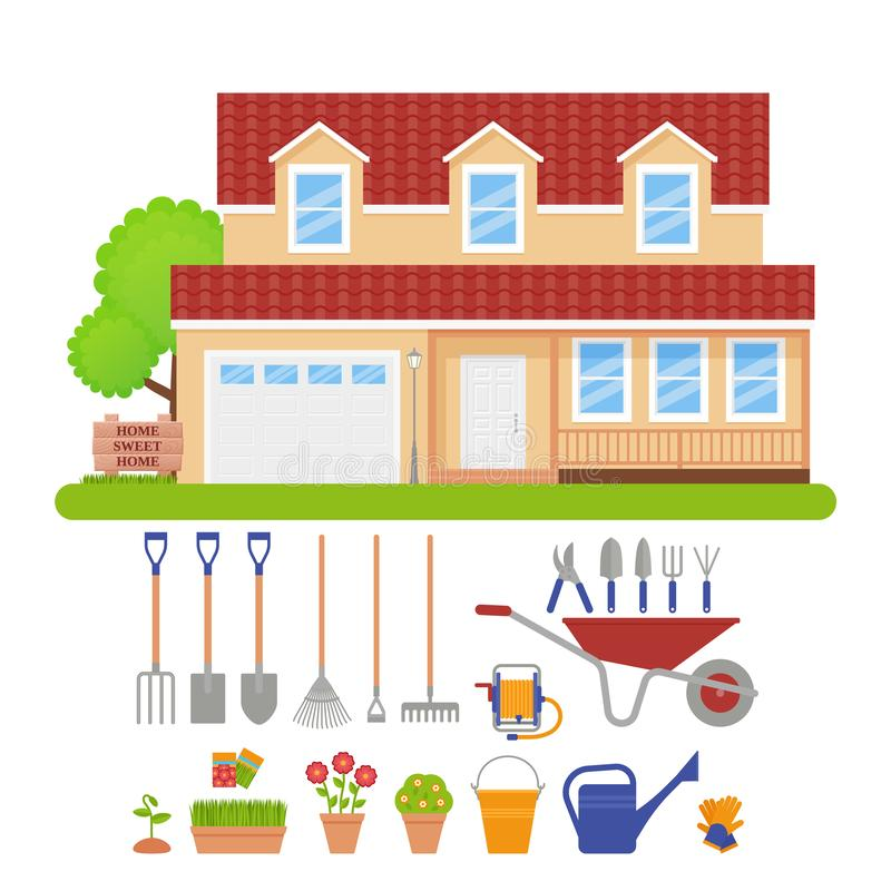 House exterior, garden tools set. Vector illustration. House exterior, garden tools. Vector. Residential cottage with lawn, tree, grass. Gardening set. Front stock illustration