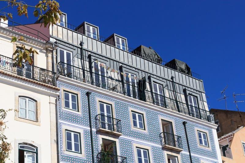House facade with blue Azulejo tiles. In Lisbon royalty free stock photo