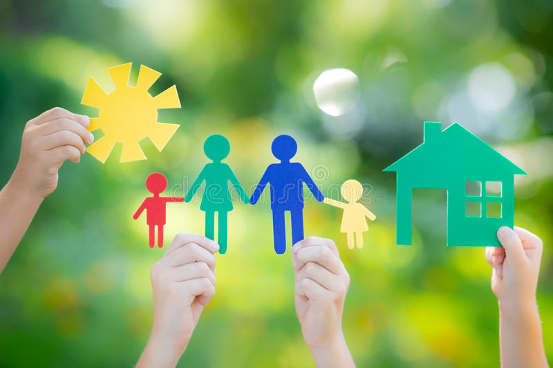 House and family in hand royalty free stock photography
