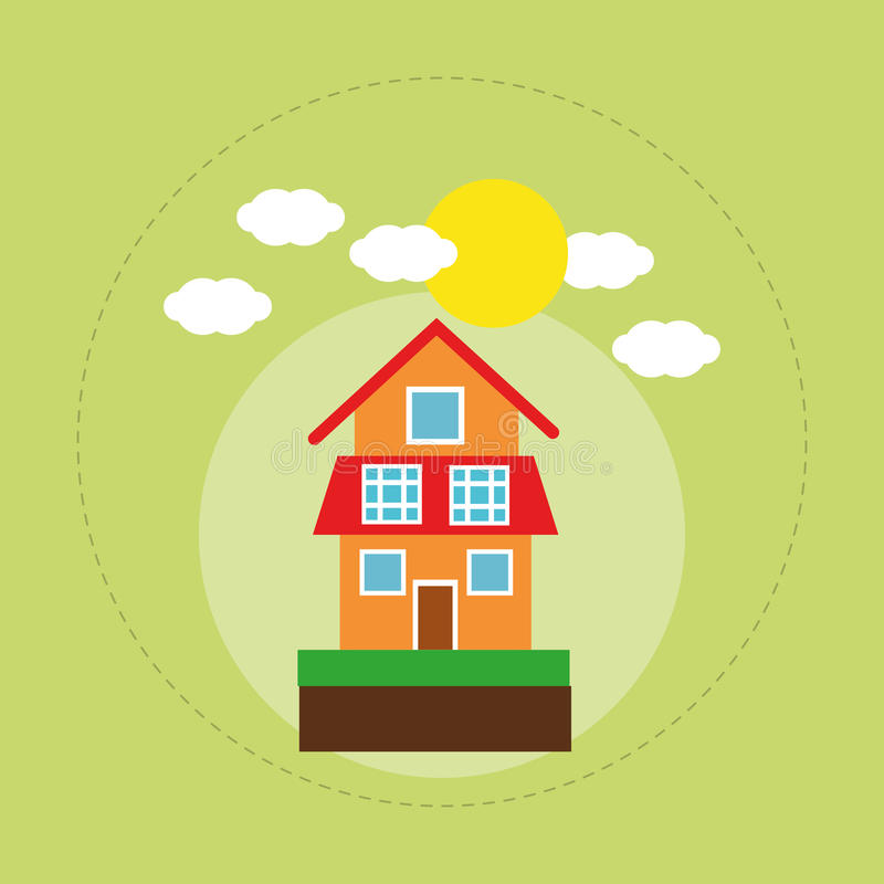 House family home energy ecology solar stock illustration