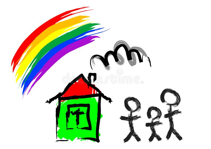 House for family one stock illustration