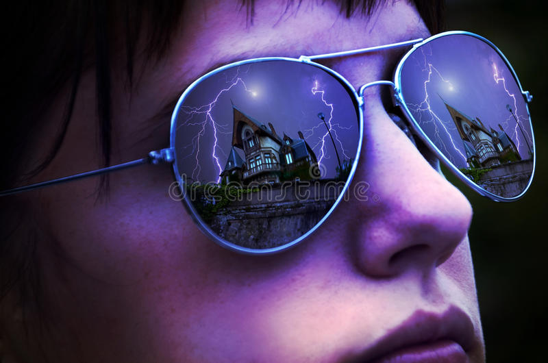 Download The house of fear stock image. Image of haunt, blue, girl - 20231549