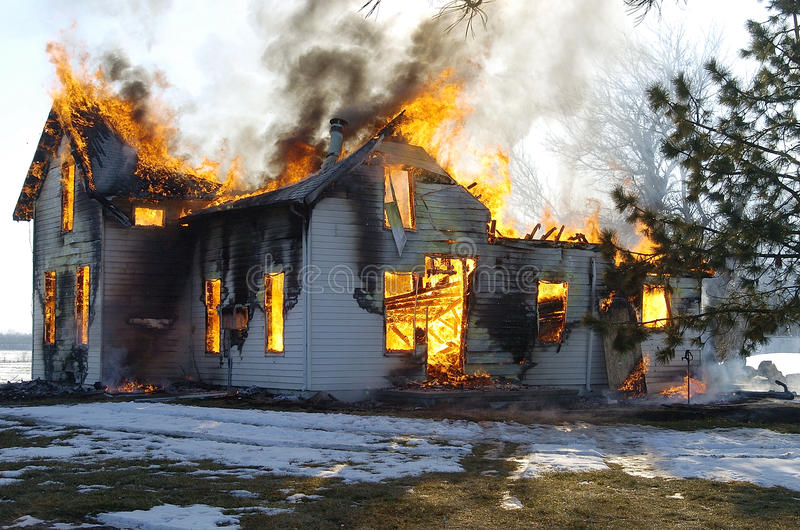 House On Fire Stock Photo Image Of Devastating House
