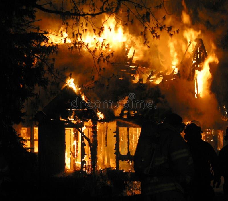 House fire. Fire consumes a house in Edmonton,Alberta,Canada stock photos