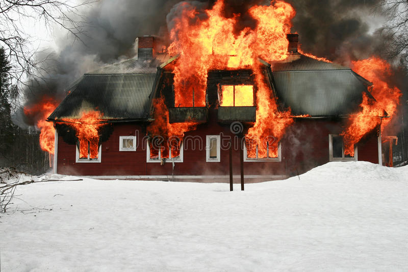 House on fire stock images