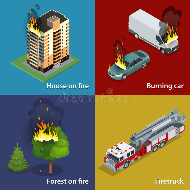 House on fire, Burning car, Forest on fire, Firetruck. Fire suppression and victim assistance. Isometric vector vector illustration