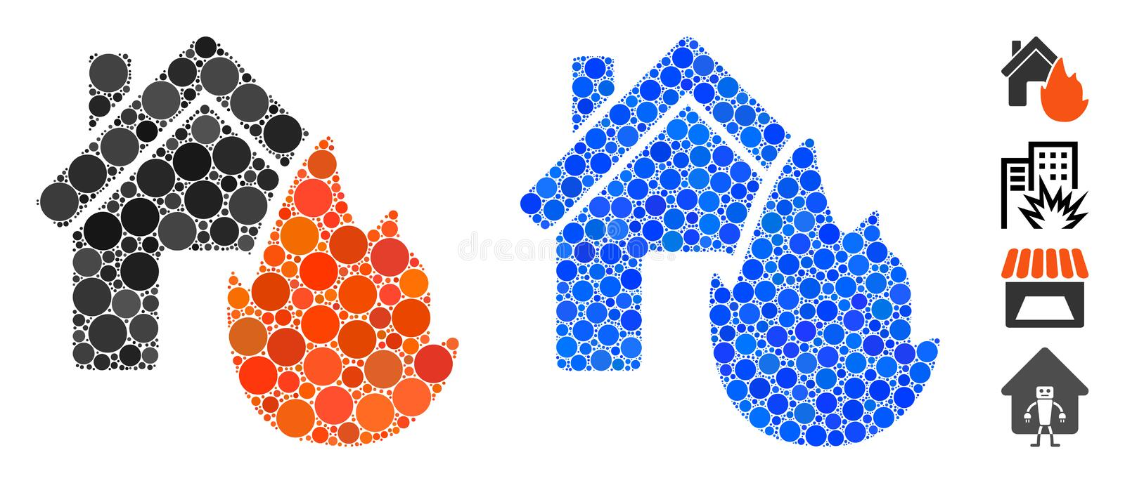 House Fire Disaster Mosaic Icon of Circle Dots. House fire disaster composition of round dots in various sizes and color tinges, based on house fire disaster royalty free stock photos