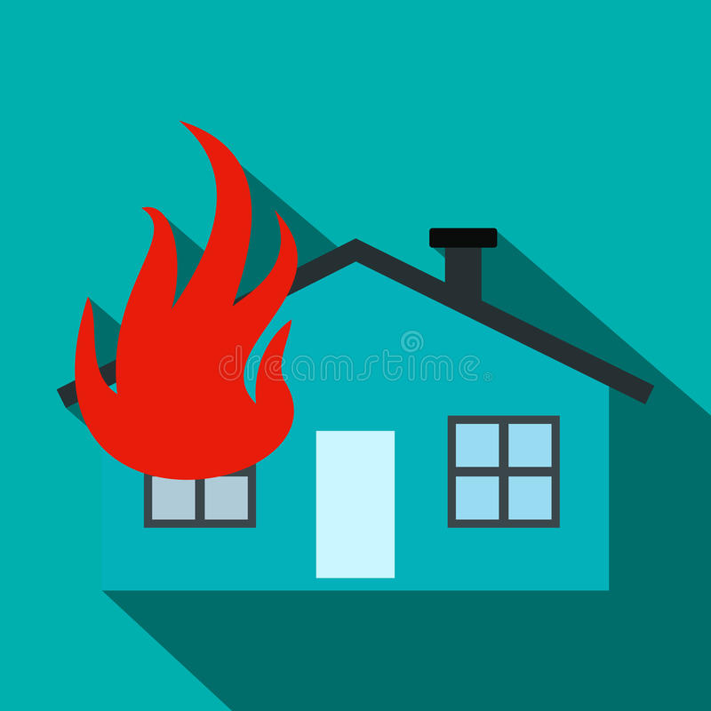 House on fire flat icon royalty free illustration