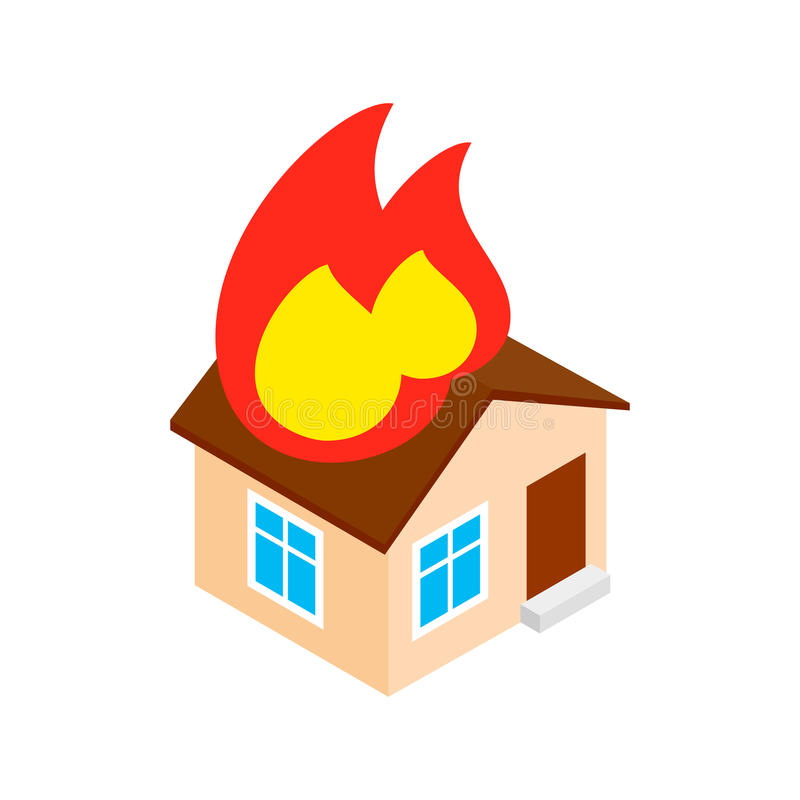House on fire isometric 3d icon vector illustration