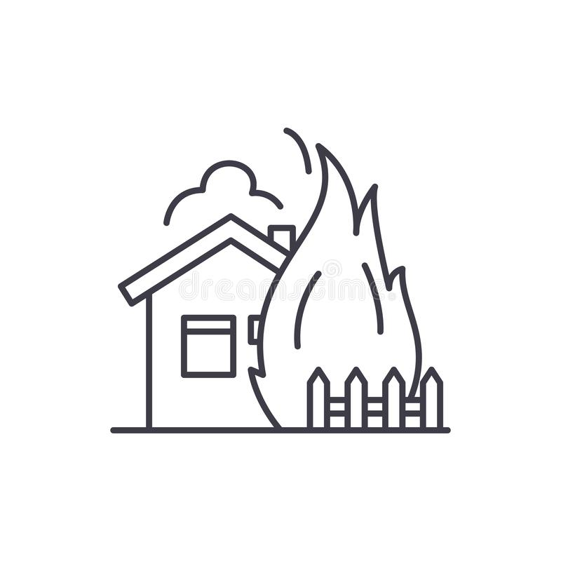 House fire line icon concept. House fire vector linear illustration, symbol, sign. House fire line icon concept. House fire vector linear illustration, sign stock illustration