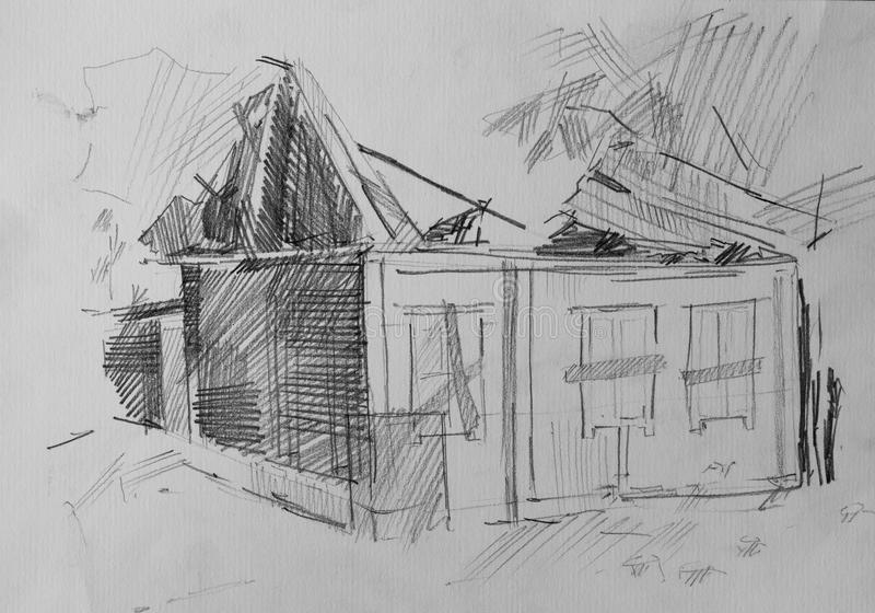 House after the fire, pencil drawing royalty free stock images