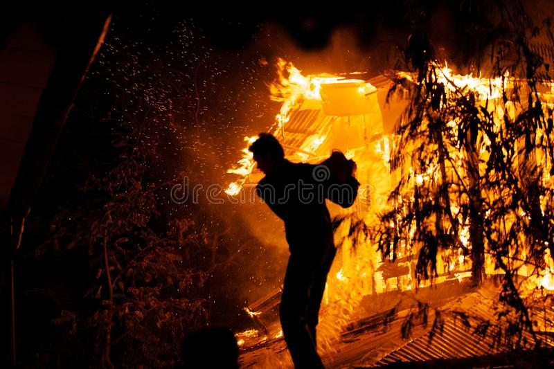 House fire. stock photo