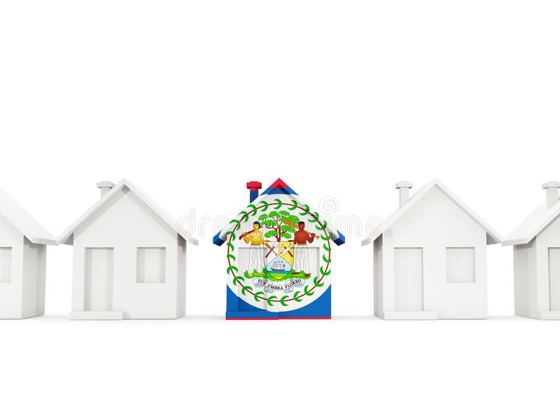 House with flag of belize. In a row of white houses. Real estate concept. 3D illustration vector illustration