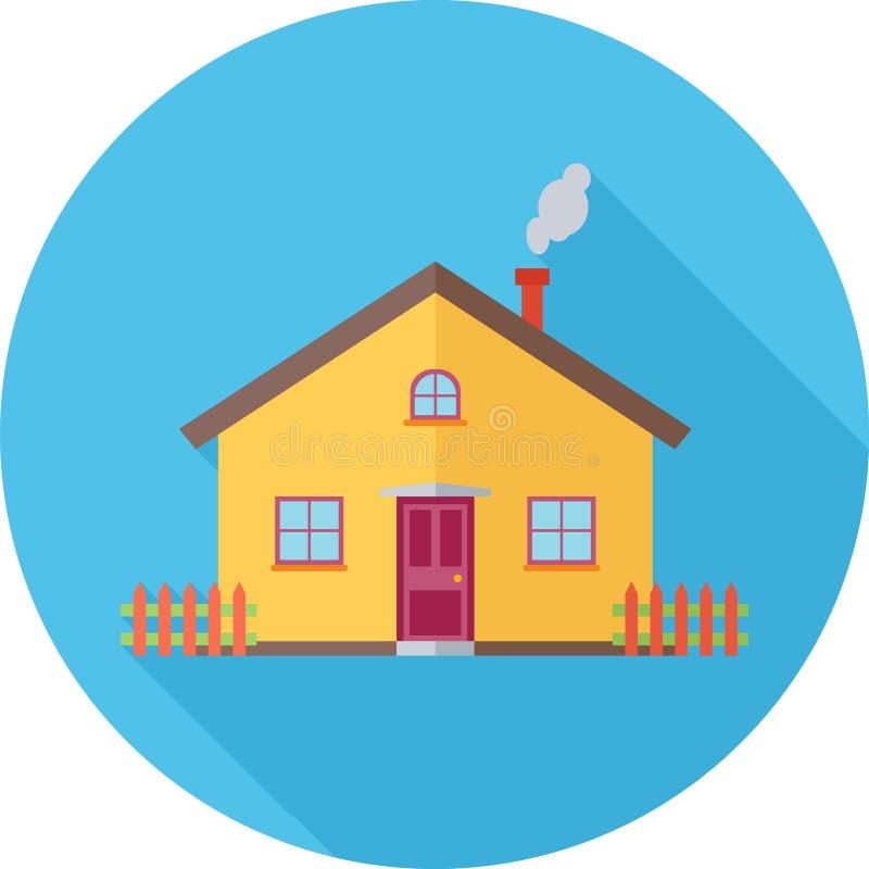 House Flat Icon. House Blue Round Flat Icon stock illustration