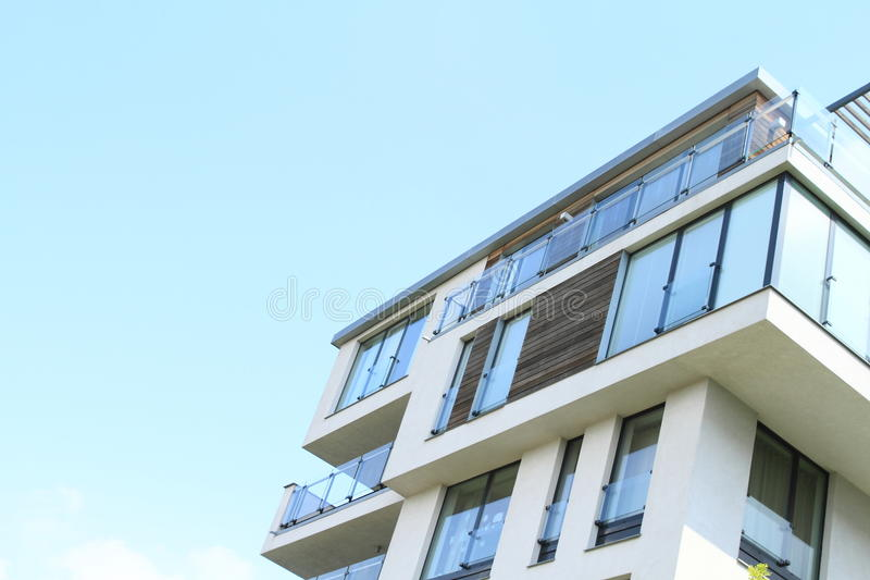 House with flats. Modern residential house with flats (Prague, Czech Republic royalty free stock photos