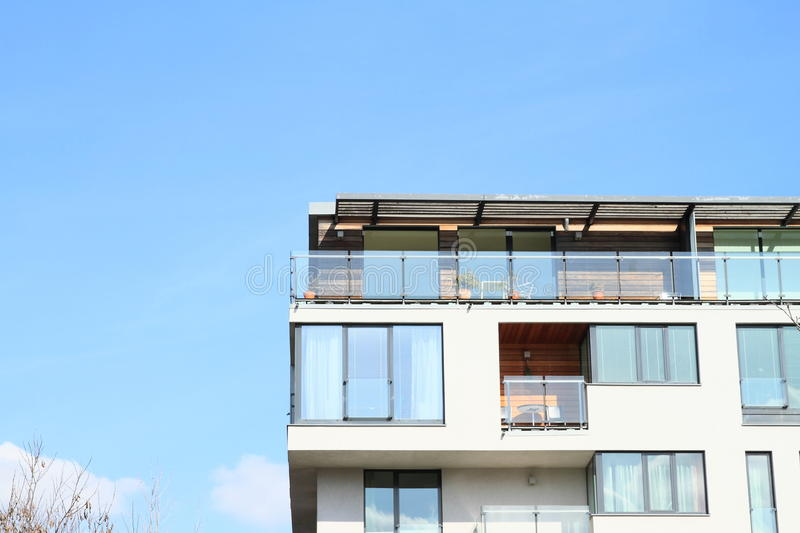 House with flats. Modern residential house with flats (Prague, Czech Republic stock photography