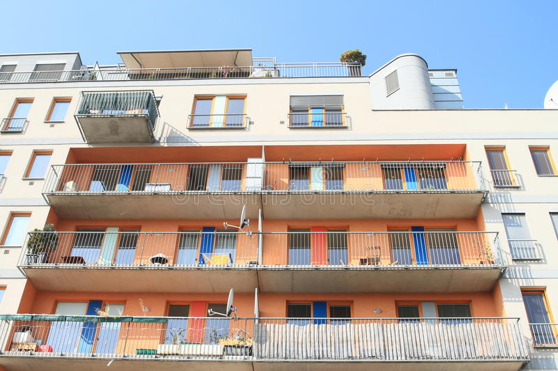 House with flats. Modern residential house with flats (Prague, Czech Republic stock photo