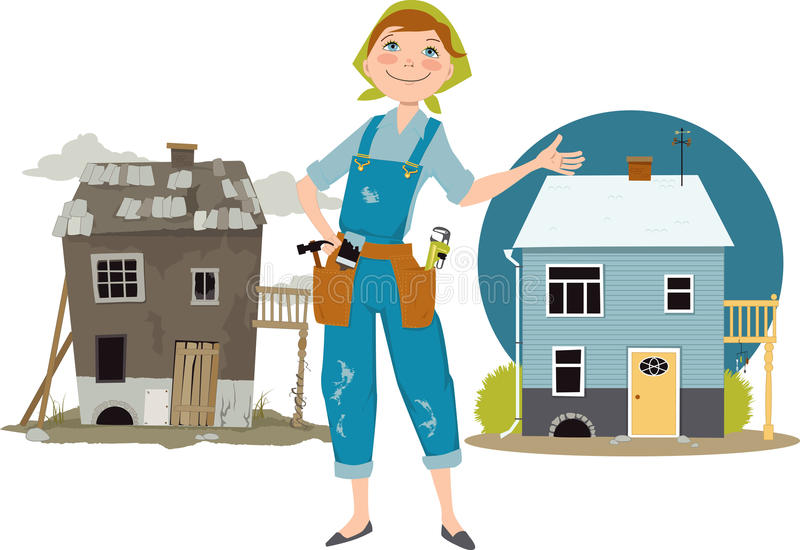 House flipper. Happy cartoon woman in overalls with tools standing in front of a house shown before and after renovation, EPS 8 vector illustration, no royalty free illustration
