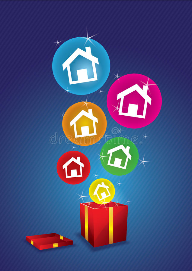 House floating from gift box stock illustration