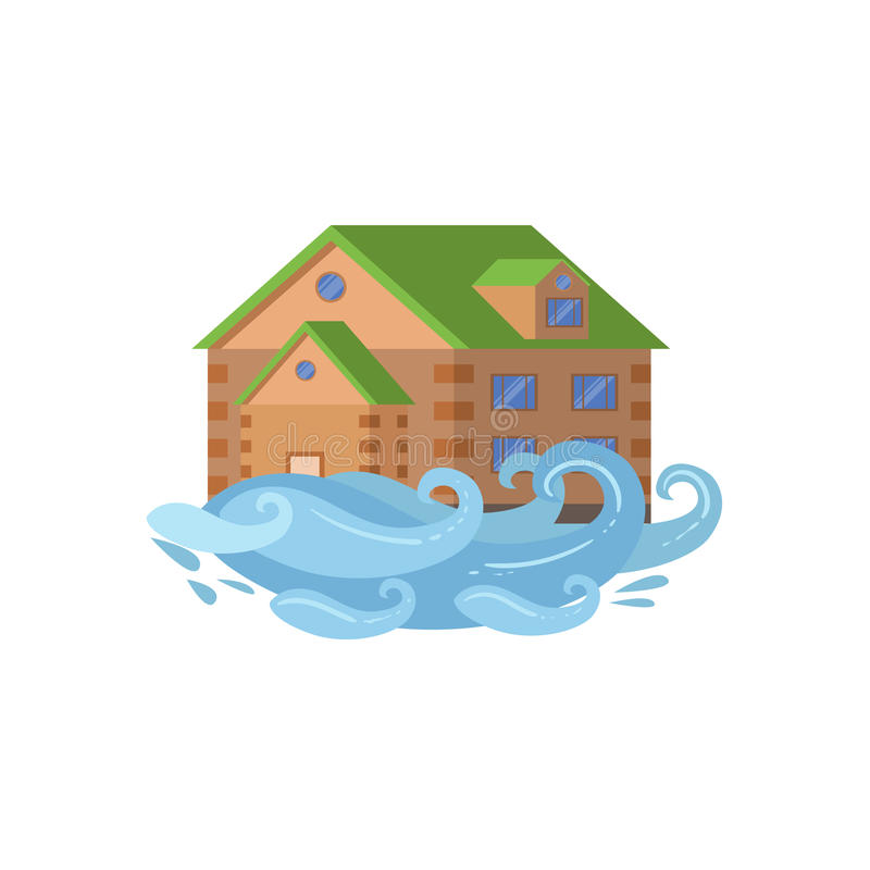 House In Flood, Natural Forces Threat royalty free illustration