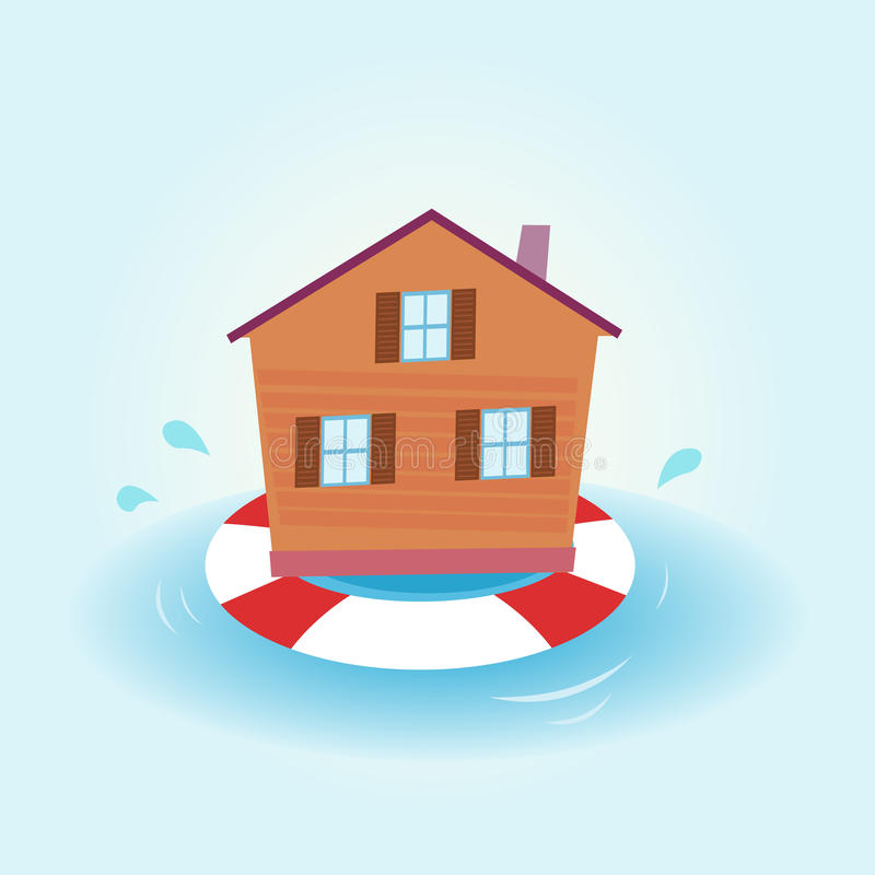 House flood - staying afloat. Illustration of house staying over water. Nature disaster or economic crisis? The house stay afloat vector illustration