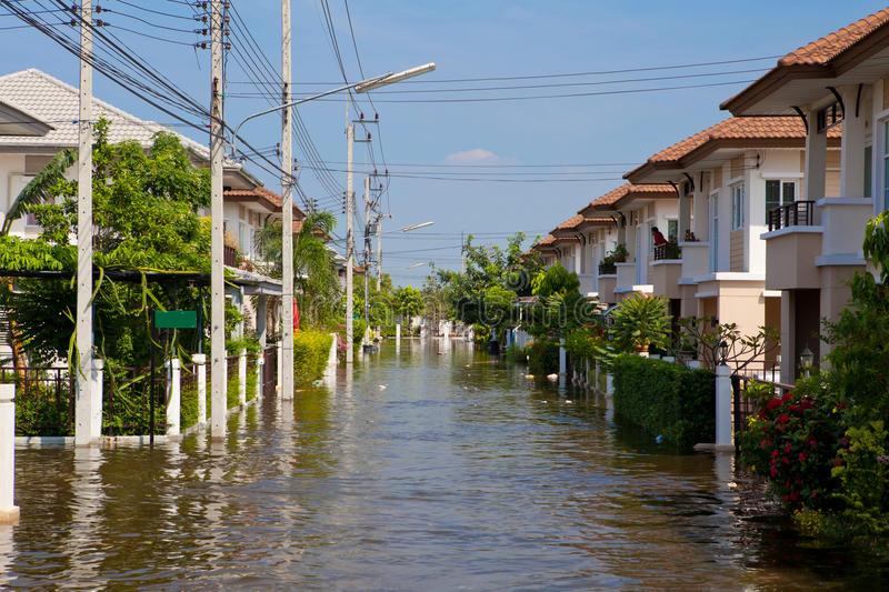 Download House flood in Thailand stock image. Image of flag, homeless - 22072199