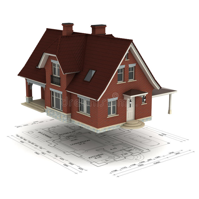 House with floor plan stock illustration