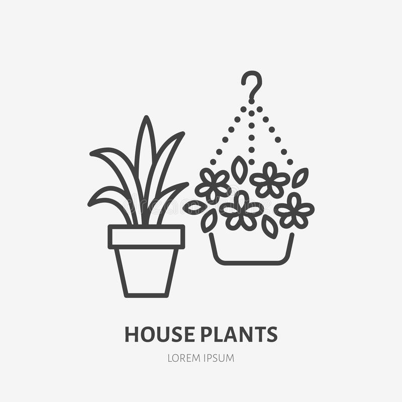 House flowers in flower pots flat line icon. Plants growing in flowerpot sign. Thin linear logo for gardening, planting.  vector illustration