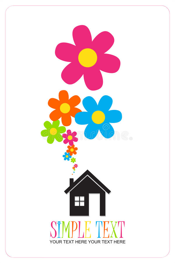 House and flowers instead of smoke. House and flowers instead of smoke rising from the chimney Abstract illustration. Place for your text stock illustration