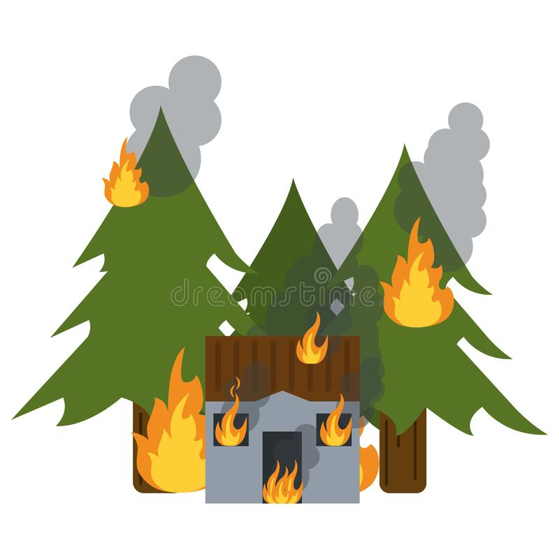 House and forest in fire stock illustration
