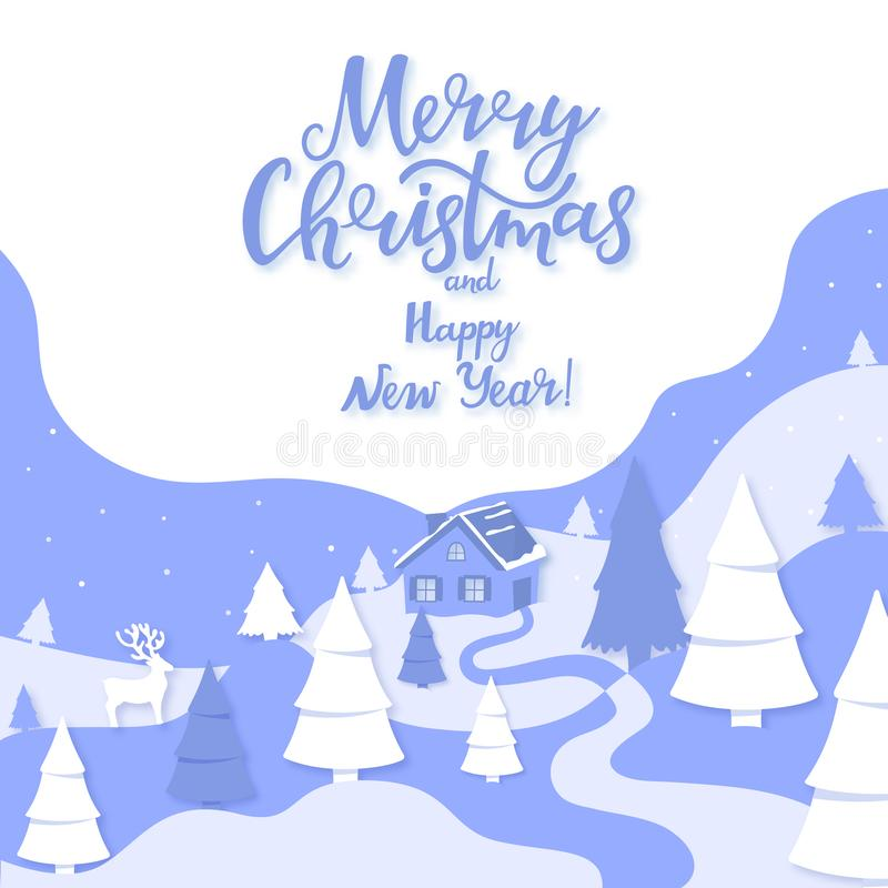House in the forest among the mountains and firs. Winter landscape. Merry Christmas and Happy New Year in paper cut art royalty free illustration